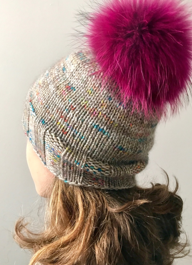 71b2b50e8e4 PULL THE WOOL OVER is a super simple hat with just the right amount of  slouch. It s knit with a speckled Hedgehog Fibres Merino Aran held together  with a ...