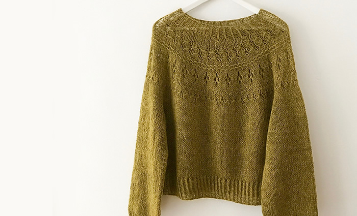 a4a5562dfc ... Hirose is a round yoke pullover with lace and textured stitches. This  relaxed and comfy sweater is easy to wear yet stylish. Knitted from the top  down